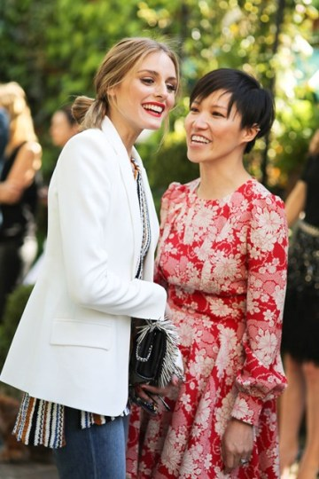 Olivia Palermo and Sandra Choi at the Jimmy Choo tea party - Courtesy of Vogue.co.uk