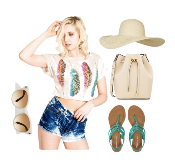 Beige Cropped Top with Bleached out Short